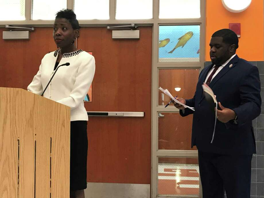 Superintendent of Schools Carol Birks and Director of Choice and Enrollment Marquelle Middleton on Aug. 26, 2019. Photo: Brian Zahn/Hearst Connecticut Media