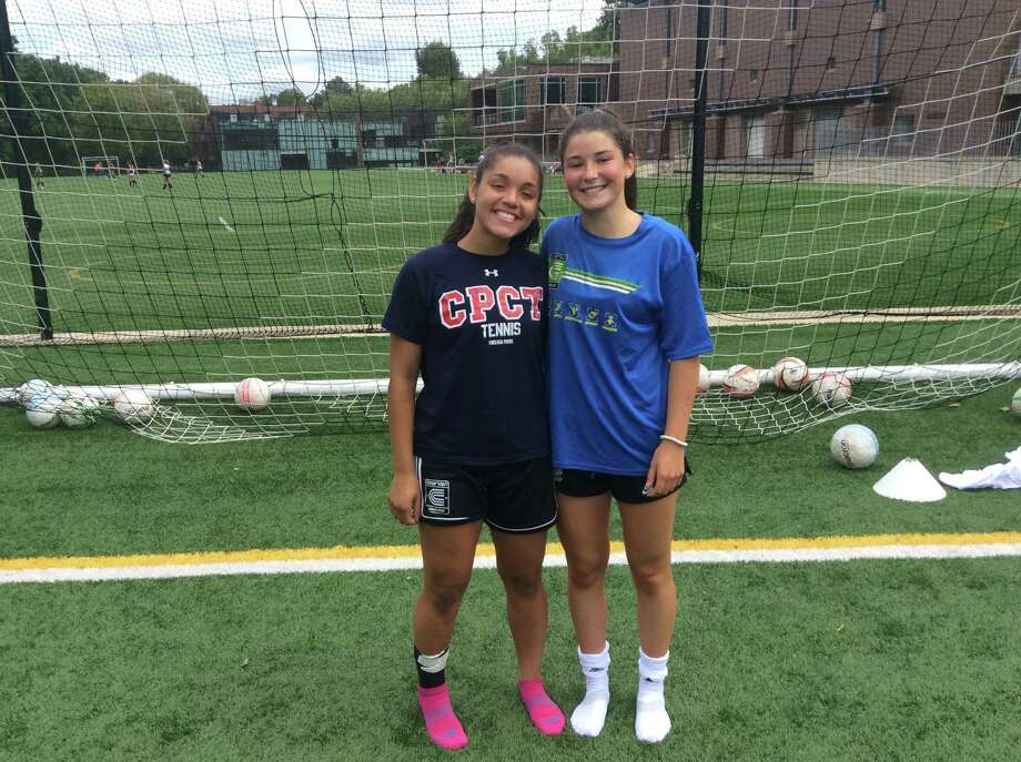 Christina Maldonado, left, and Taylor Lane are senior captains on the Greenwich Academy soccer team, which has won the FAA Tournament championship the past three seasons. Photo: David Fierro /Hearst Connecticut Media