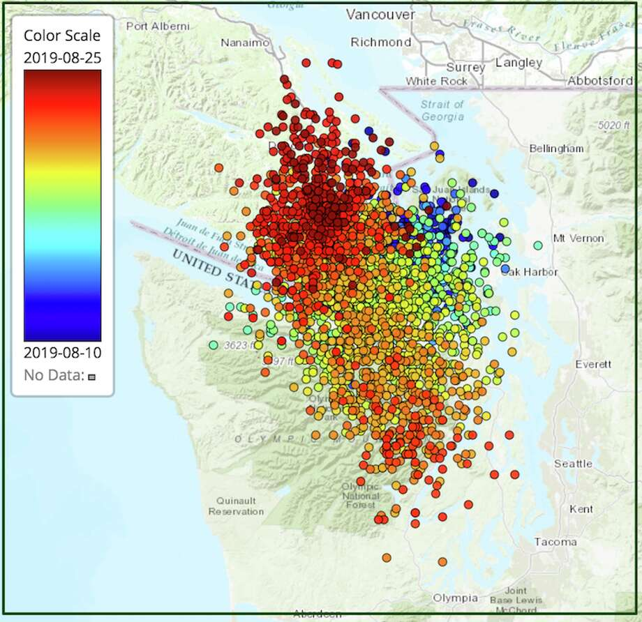 A map shows tremors recorded by the Pacific Northwest Seismic Network during the August ETS event.