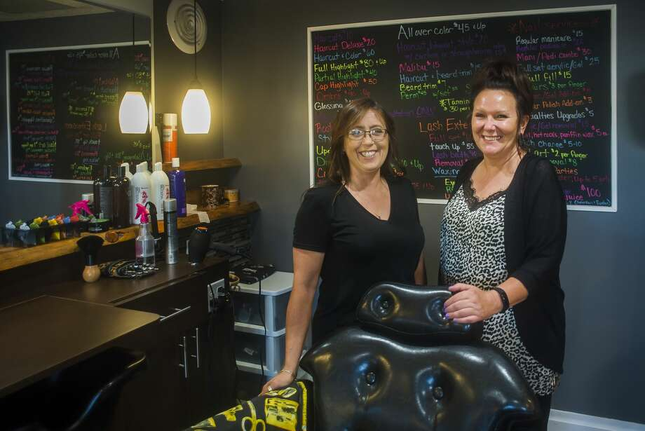 KatWalk Hair Lair Co-Owners Christina Carland, right, and Bonnie Ortman, left, pose for a portrait Tuesday, Aug. 27, 2019 inside the salon in Sanford. (Katy Kildee/kkildee@mdn.net) Photo: (Katy Kildee/kkildee@mdn.net)