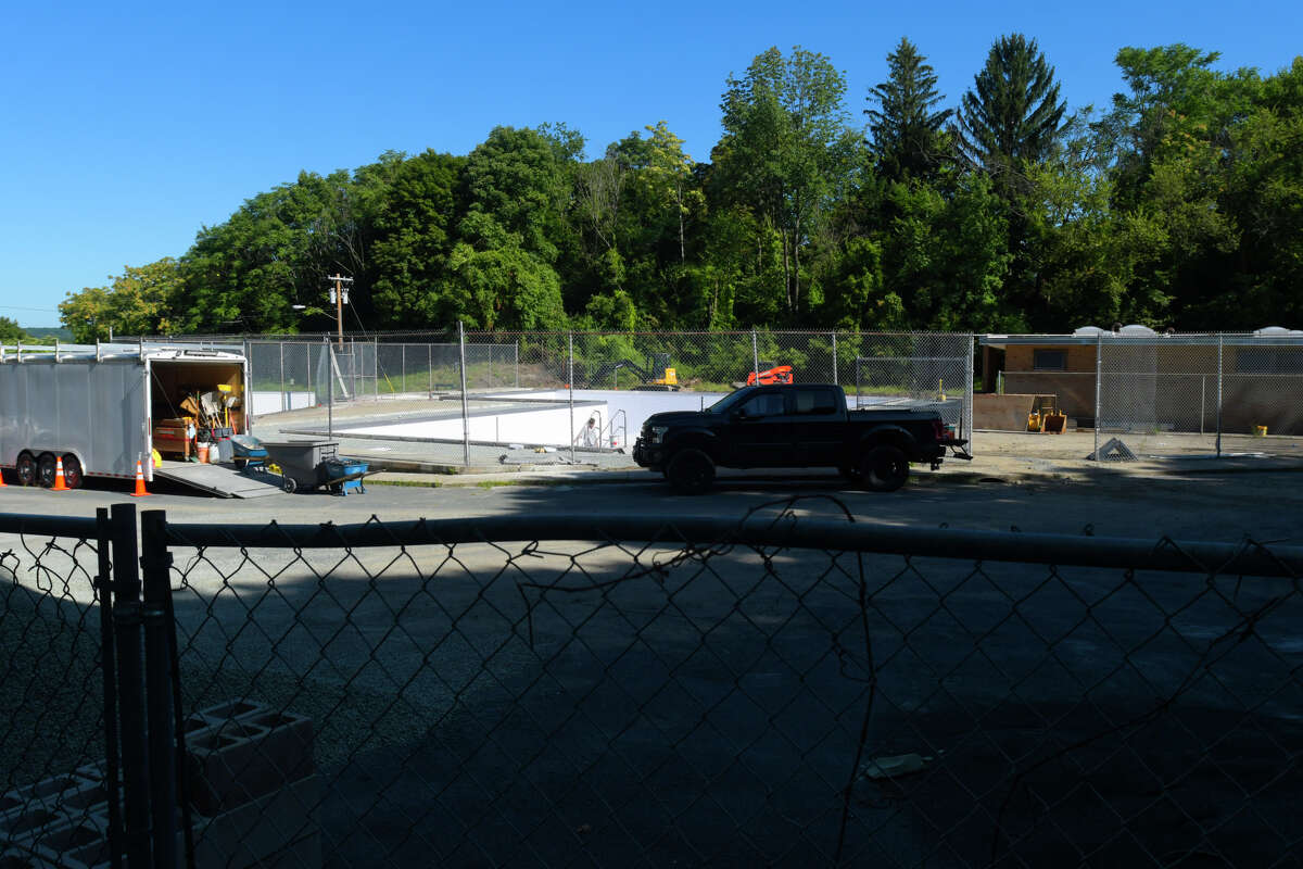 Work continued on Aug. 26, 2019, on the South Troy pool. Troy Mayor Patrick Madden's office confirmed on Friday that the pool would not open this year. (Paul Buckowski/Times Union)