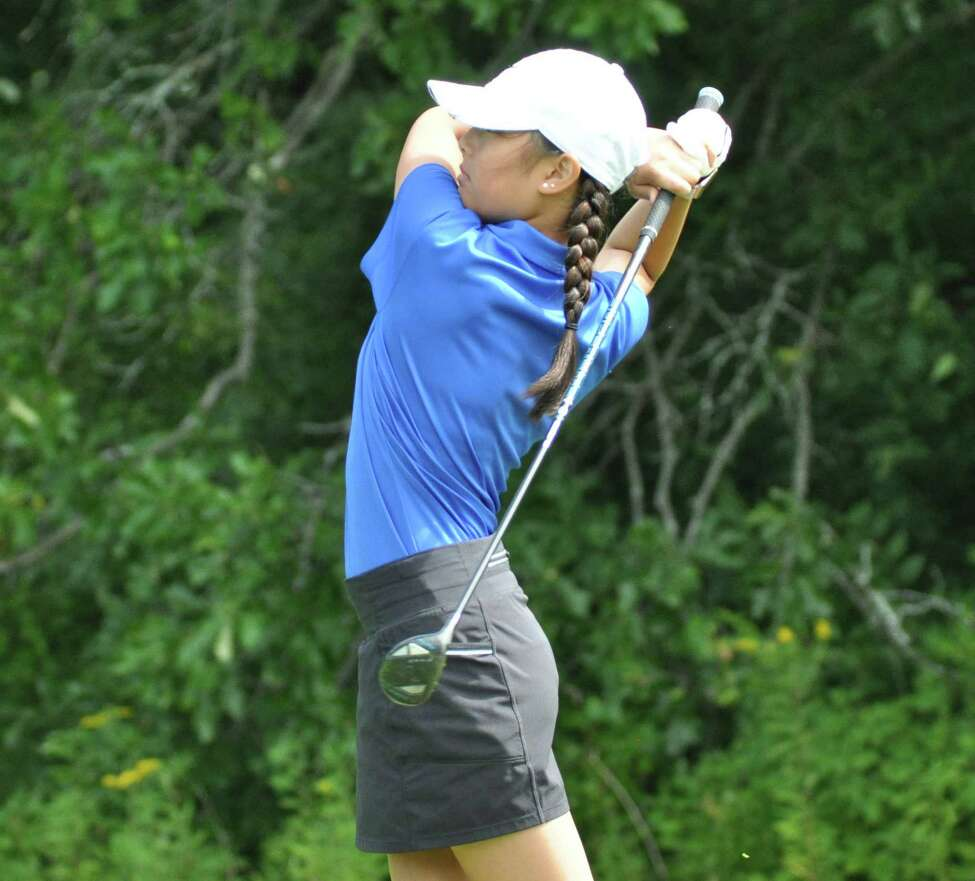 Hannah Byun of Shaker watches her drive during a match against Albany Academy on Tuesday, August 27, 2019, at Van Patten Golf Club. (Joyce Bassett / Times Union)