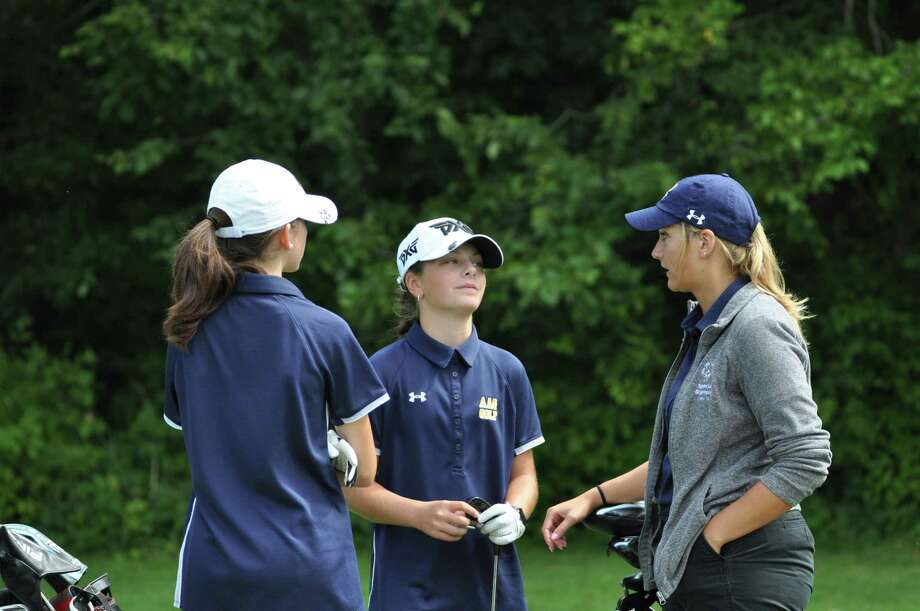 Kennedy Swedick of Albany Academy, center, and Nicole Criscone, with Albany Academy girls' golf head coach Sarah Adamowski during a match against Shaker at Van Patton Golf Club on Tuesday, August 27 2019. Adamowski and Siobhan Matrose, head coach of Shaker, said their teams are excited about the first year of Section 2 competition. (Joyce Bassett / Times Union) Photo: Joyce Bassett