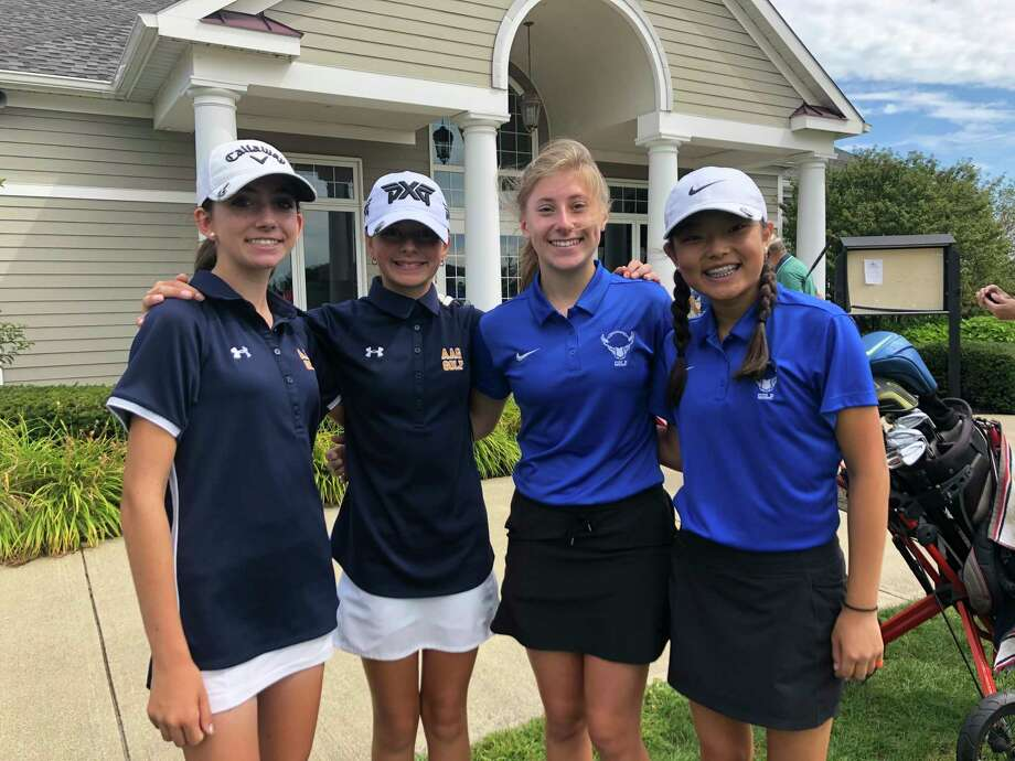 Albany Academy and Shaker faced off Tuesday in a non-conference match Tuesday, August 27, 2019, at Van Patten Golf Club in Clifton Park. One foresome of two included, from left, Nicole Criscone and Kennedy Swedick of Albany Academy and Emily Bette and Hannah Byun of Shaker. (Joyce Bassett / Times Union) Photo: Times Union