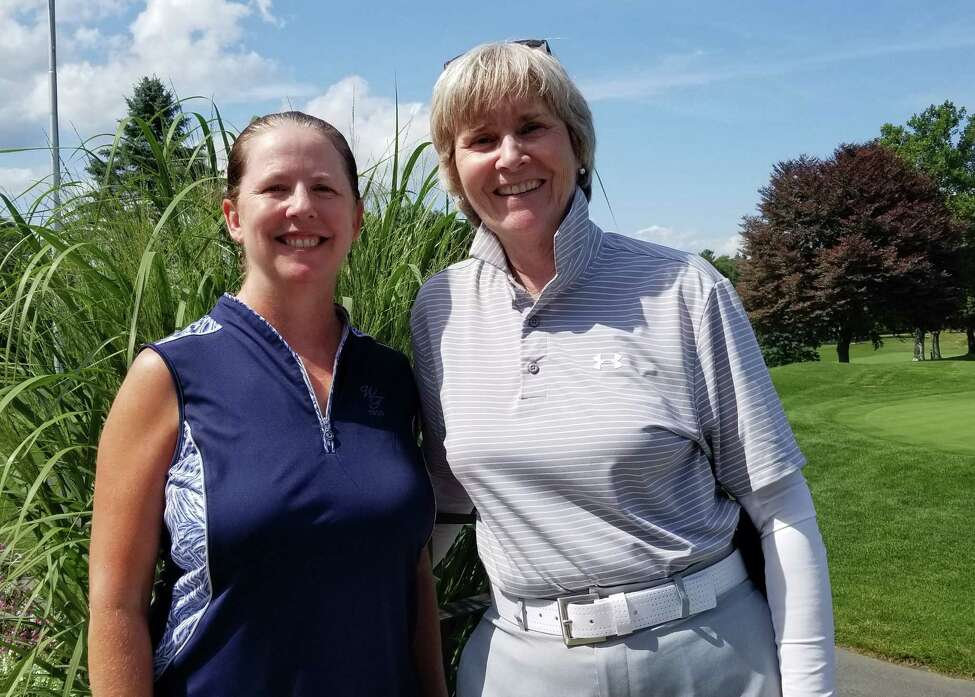 Mary Ann Keeler and Mary Corrigan, both of Western Turnpike, captured low gross honors, carding a 77 at NEWGAa€™s Gail Sykes Better Ball of Two tournament on August 14, 2019, held at Mohawk Golf Club in Schenectady. (Joyce Bassett)