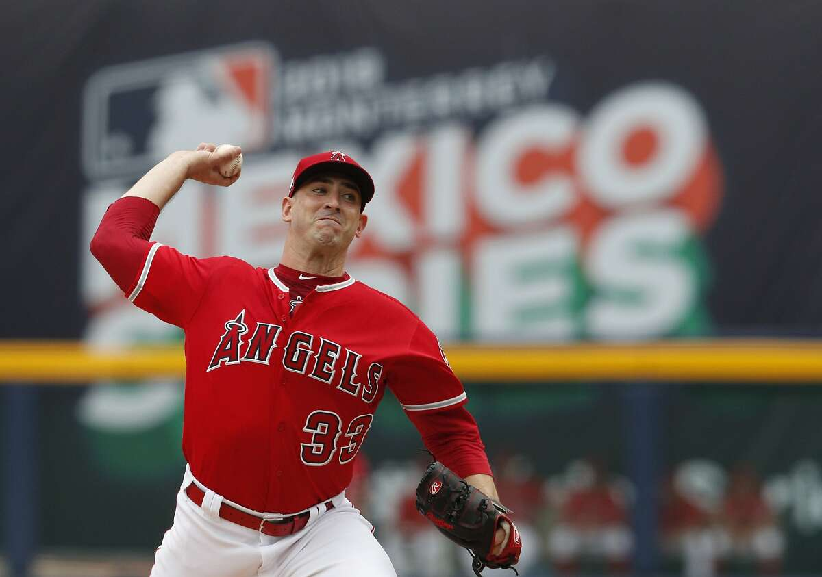 Los Angeles Angels' Matt Harvey pitches during the second inning of a baseball game against the Houston Astros, in Monterrey, Mexico, Sunday, May 5, 2019. (AP Photo/Rebecca Blackwell)