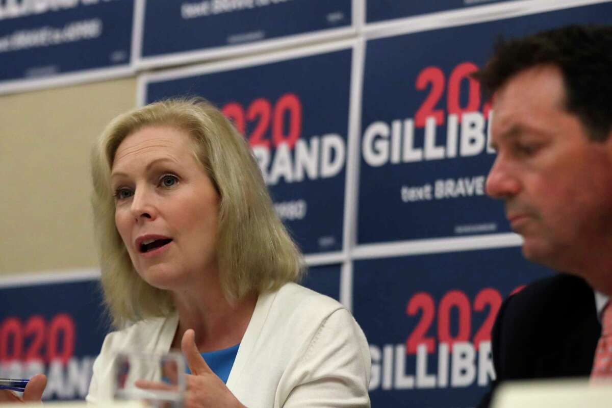 Democratic presidential candidate Sen. Kirsten Gillibrand, D-N.Y., participates in a mental health roundtable discussion with State Senator Tom Sherman, Tuesday, Aug. 20, 2019, in Manchester, N.H. (AP Photo/Elise Amendola)