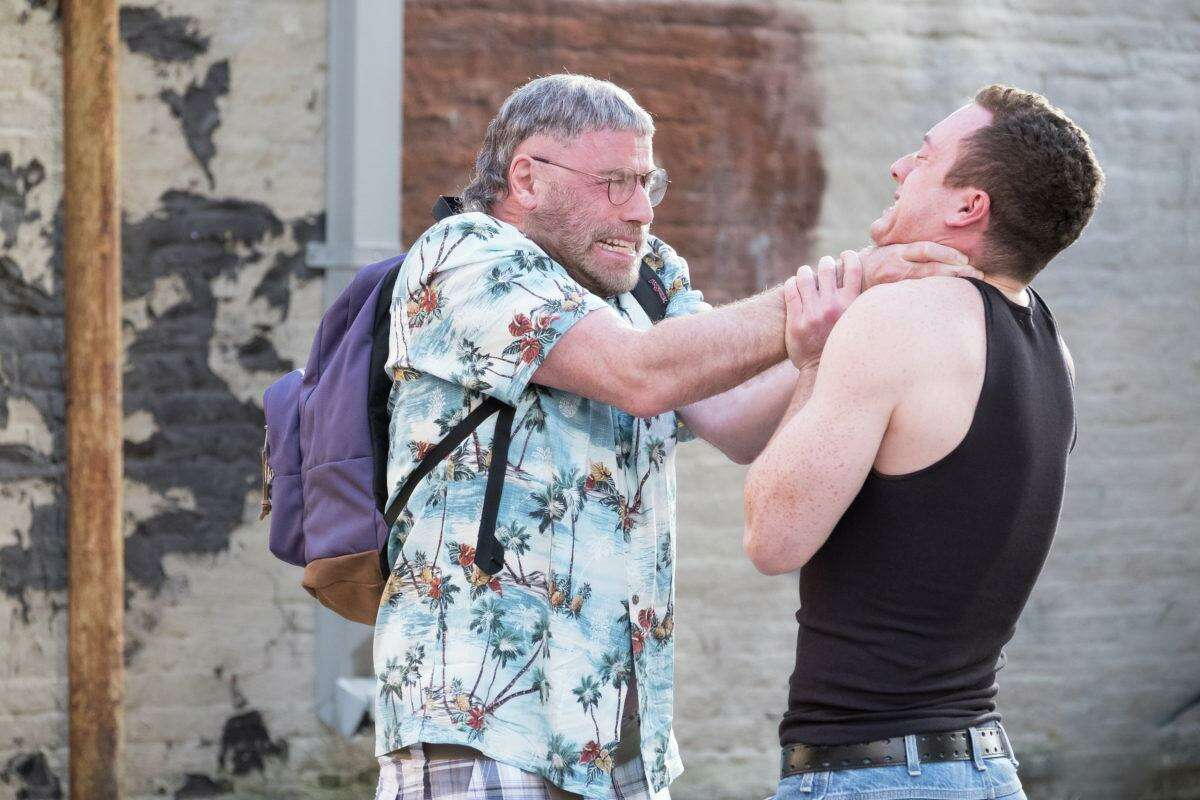 "Moose (John Travolta) attacks Hunter Dunbar (Devon Sawa) in the new psychological horror film ""The Fanatic."""