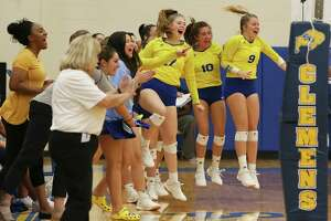 The Clemens bench gets off their feet after a score during their game against Antonian in girls volleyball at Clemens on Tuesday, Aug. 27, 2019. Clemens defeated Antonian without dropping a game, 3-0. (Kin Man Hui/San Antonio Express-News)