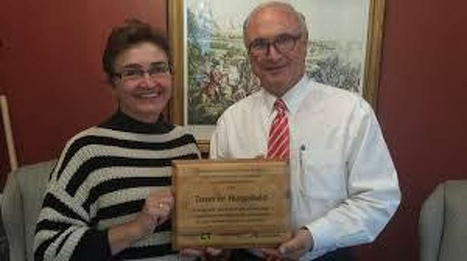 Town Treasurer Molly McGeehin with First Selectman Rudy Marconi.