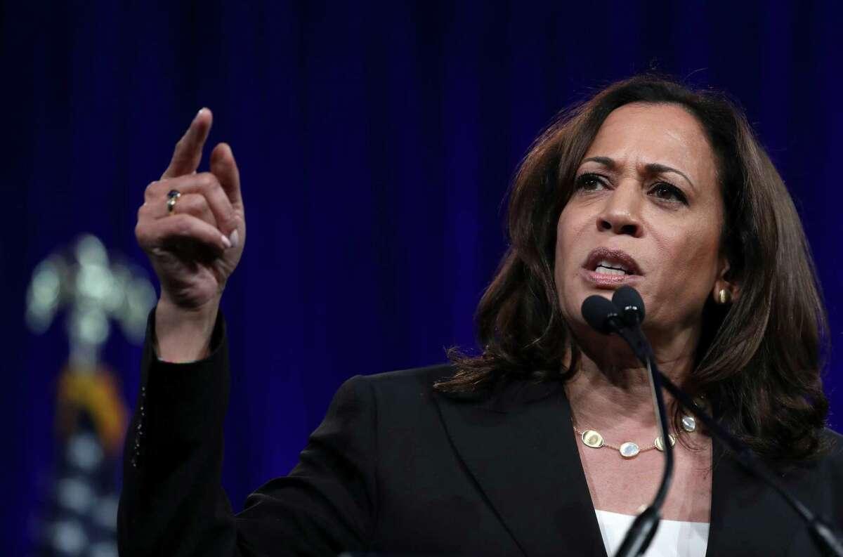 Democratic presidential candidate U.S. Sen. Kamala Harris (D-CA) speaks during the Democratic Presidential Committee (DNC) summer meeting on August 23, 2019 in San Francisco, California.