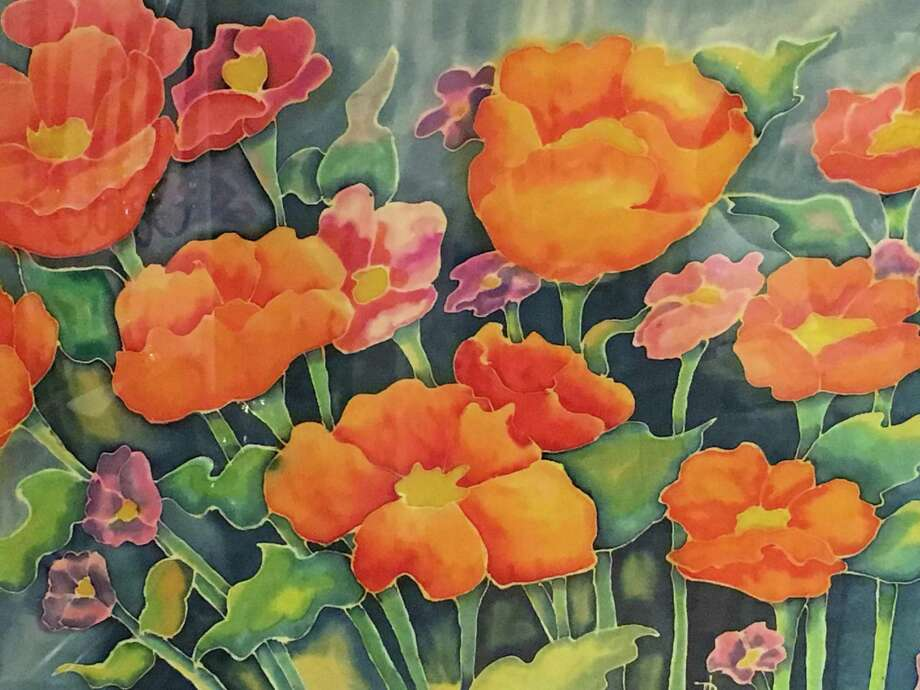Field of Poppies, a work on silk by Ronda Lanzi, will be among the items on display at Wilton Library beginning Friday, Sept. 6, at 6 p.m. Photo: Contributed Photo / Wilton Library / Wilton Bulletin Contributed