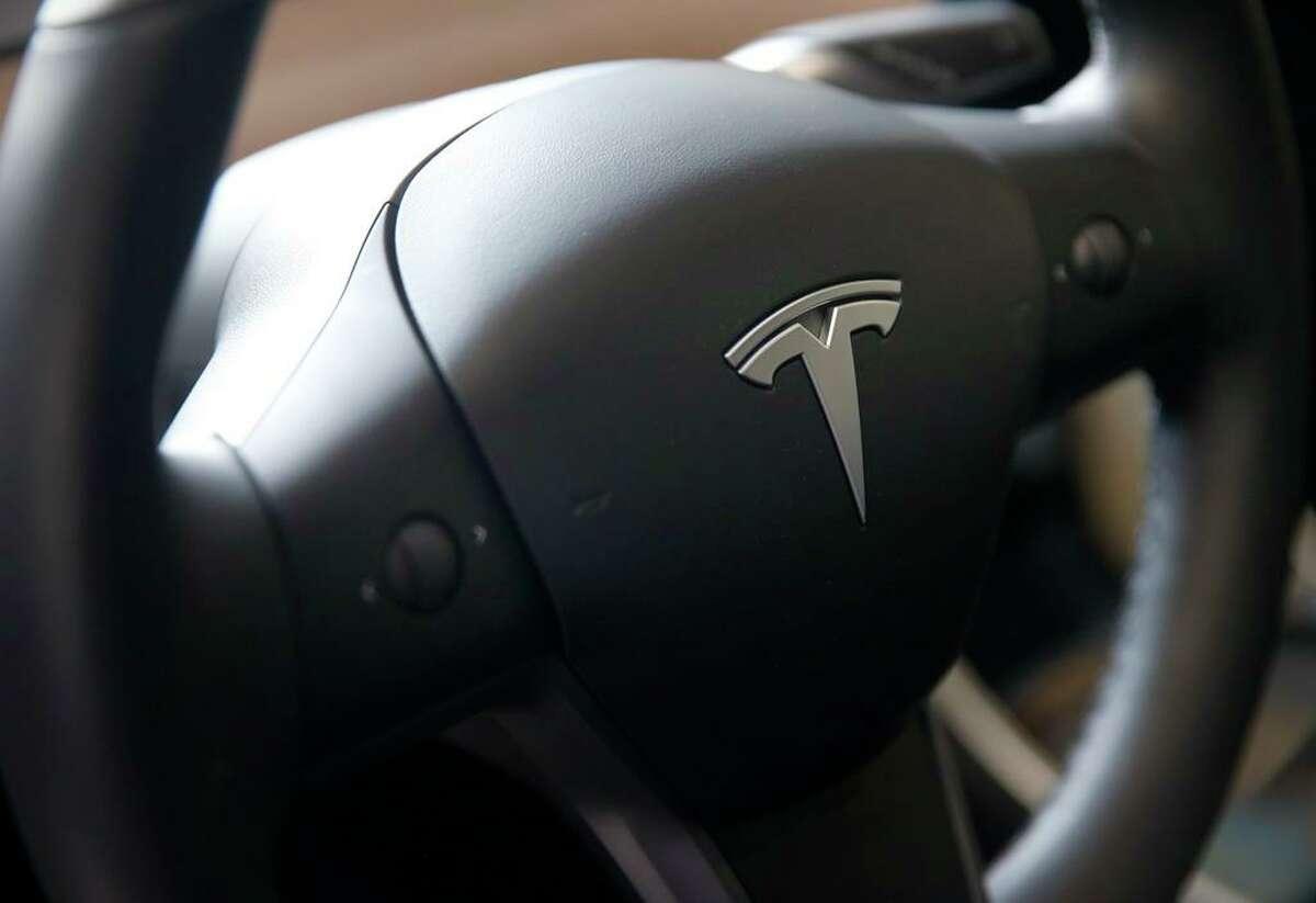 A Tesla Model 3 recharges.