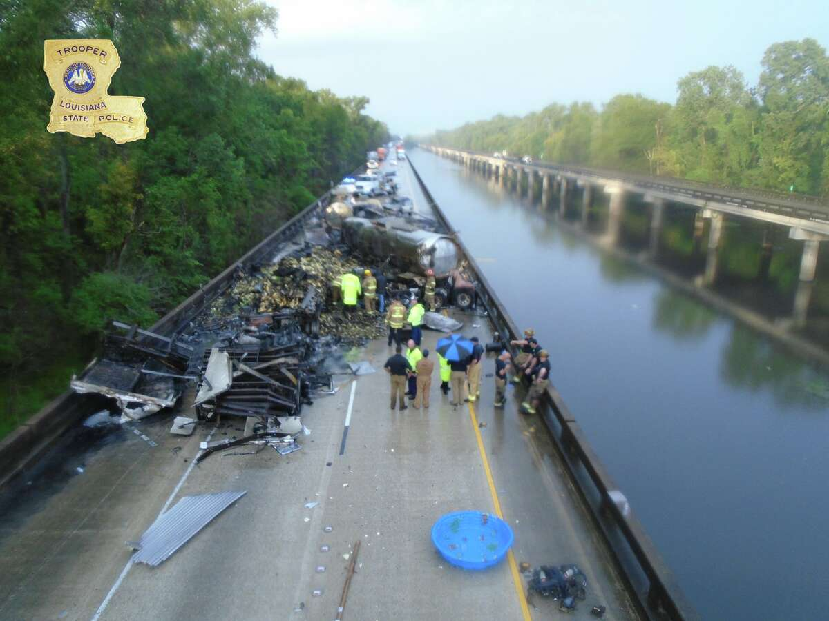 Interstate 10 remains closed in Louisiana on Wednesday, Aug. 28, 2019 after five 18-wheelers crashed on the Atchafalaya Basin Bridge on Monday, Aug. 26.