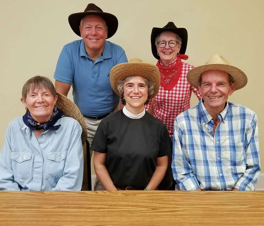 Some of the people behind Nutmeg & Neighbors are Pat Carlson, the Rev. Whitney Altopp and Richard Cutting; standing — Jack Herr and Lizzy Hanson. Photo: Contributed Photo.