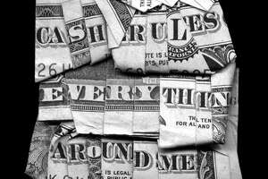 """Dan Tague's 40x40-inch print """"Cash Rules Everything"""" is among works in the group show """"Exchange Rate,"""" opening July 13 at Galveston Arts Center."""