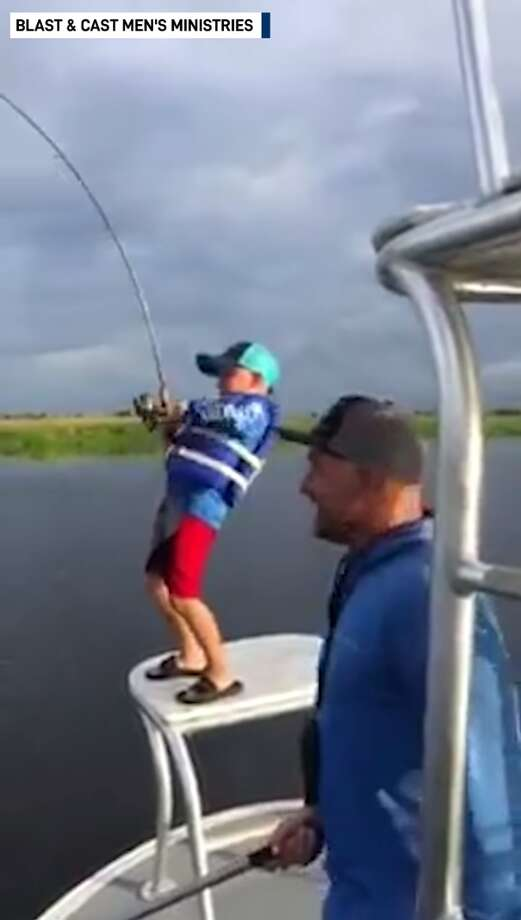 Every fisherman has a big fish story that their friends can find hard to believe.  But 9-year-old Van Schwemer of Webster actually did reel in a whopper, and has the video to prove it. Photo: Blast & Cast Men's Ministries