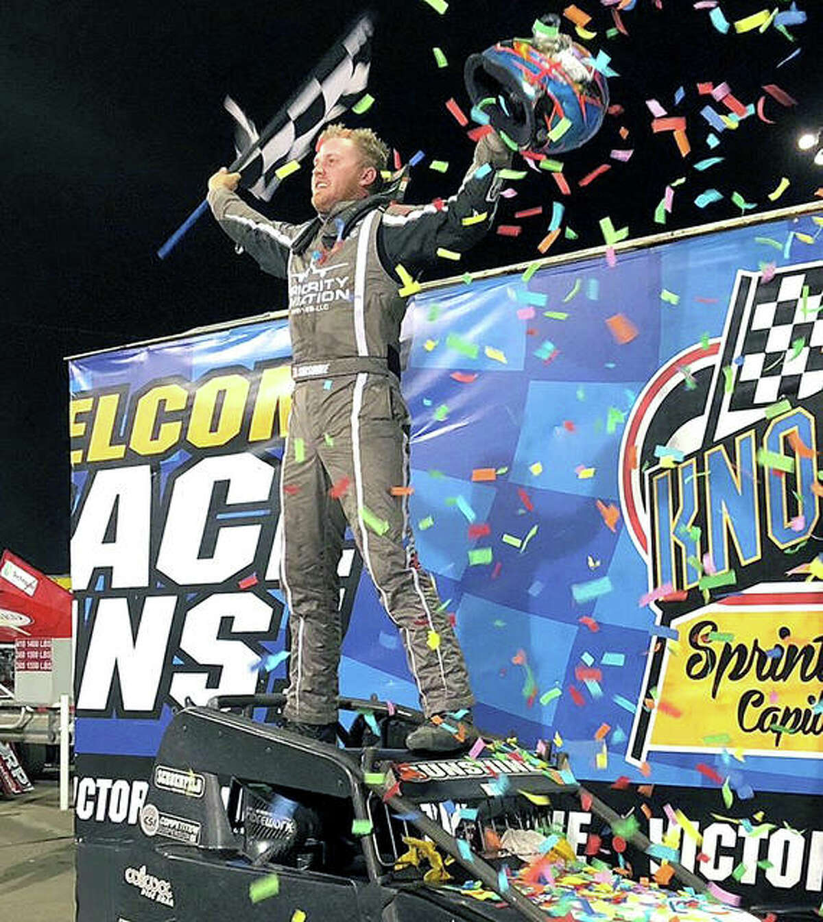Tyler Courtney celebrates a USAC victory earlier this summer in Knoxville, Tennessee. He also posted a win in May at Tri-City Speedway.