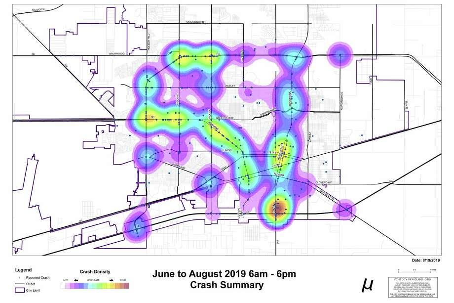 "The Day time map ""hot spots"" are: up and down Andrews Hwy, Rankin Hwy/IH-20, the downtown area on Big Spring St., Midland Drive and Loop 250 and Midkiff and Loop 250. Photo: Midland Police Department"
