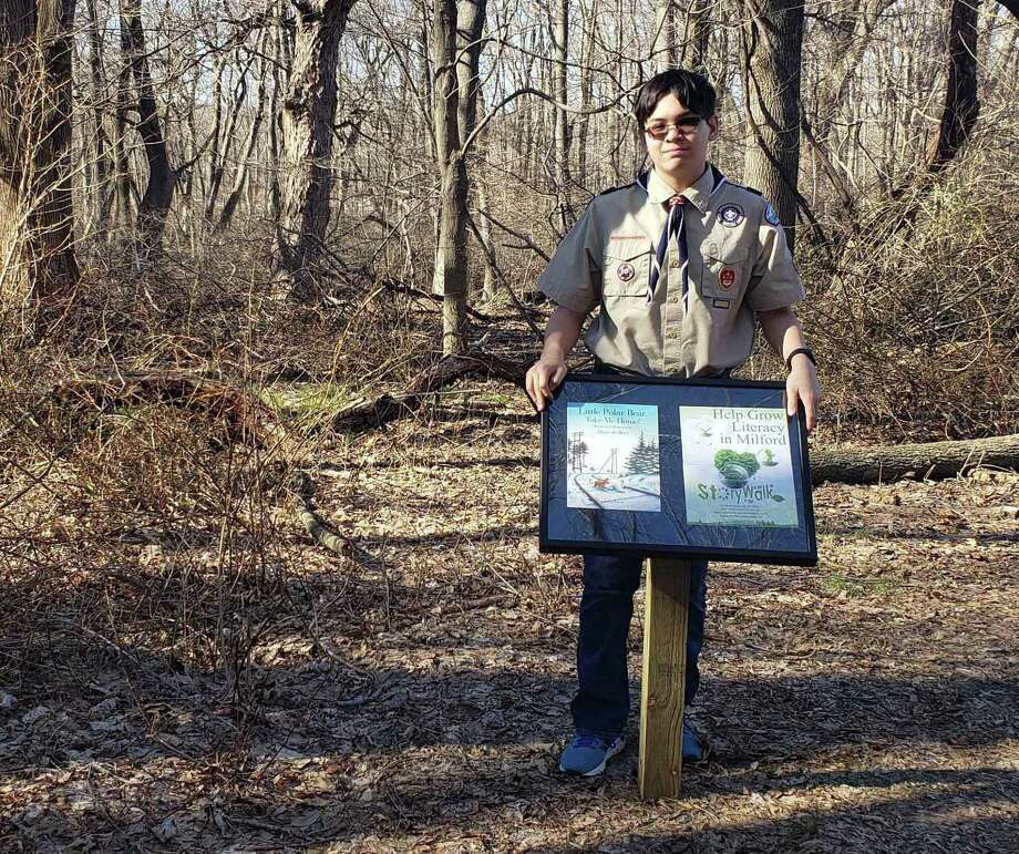 Marco Buschauer, a Scout with Troop 1 in Milford, Conn., created a StoryWalk at Eisenhower Park for his Eagle Scout project. Photo: Marco Buschauer / Contributed Photo
