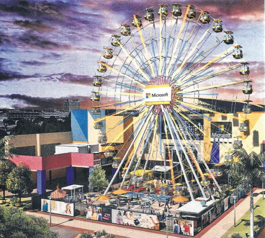 Shown is a rendering of the 148-foot-high Ferris wheel that the owners of the Outlet Shoppes of Laredo are presenting to Webb County Commissioners Court. The total cost would be over $5 million. Photo: Courtesy
