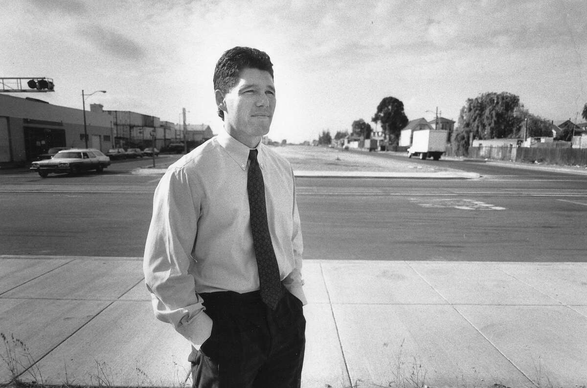 Patrick Wallace stands where the Cypress structure of Interstate 880 used to be. After the earthquake, Wallace, who worked nearby, searched the rubble for survivors. He eventually found Julie and Cathy Berumen, who were saved.