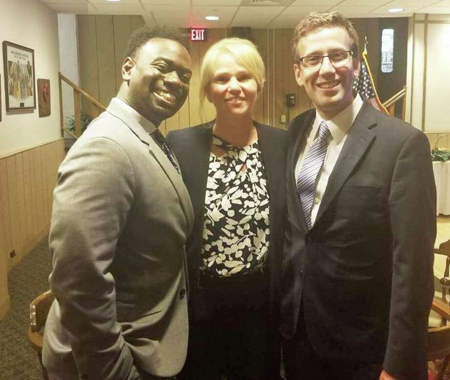 From left are state Rep. Quentin Phipps, D-Middletown, Middletown Common Council Deputy Majority Leader Mary Bartolotta and state Sen. Matt Lesser, D-Middletown. Photo: Contributed Photo