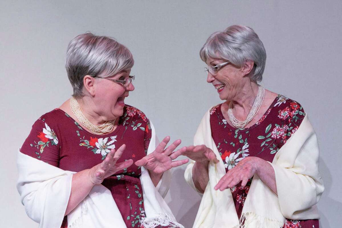 """Kaye Thompson and Donna Warner as Flo and Glenda in Stage Right's """"The Wild Women of Winedale."""""""