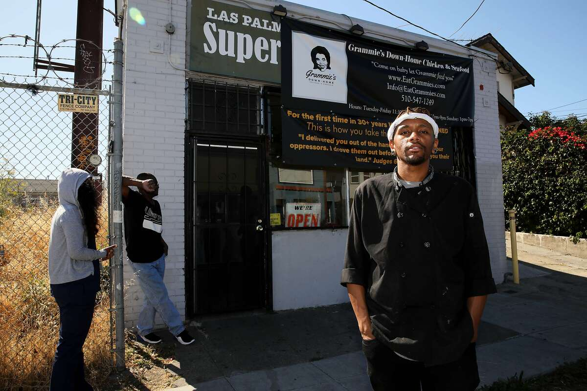 Rashad Armstead poses for a portrait outside his former restaurant Grammie's Down-Home Chicken. During the pandemic, he opened Epic Ventures Test Kitchen in Oakland to help Black food entreprenuers.