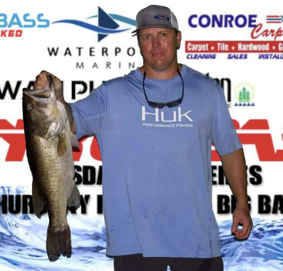 Nick Morton (pictured) and Langston Johnson weighed in the first place big bass in the CONROEBASS Tuesday Tournament that weighed 8.93 pounds Photo: Conroe Bass