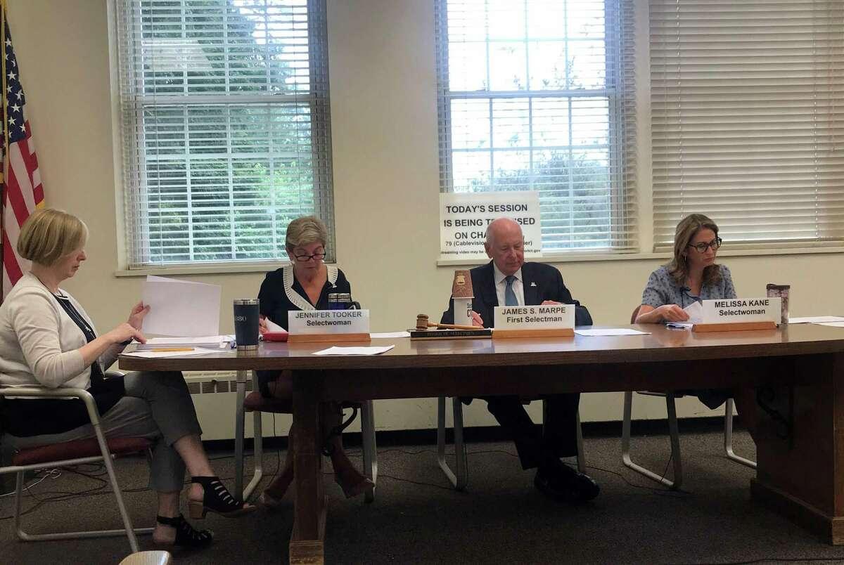 The Board of Selectmen at their meeting on Wednesday. Taken Aug. 28, 2019 in Westport, CT.