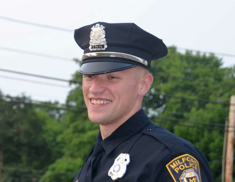Eric Hoff on the night of his graduation from the Milford Police Academy July 10, 2019. Photo: Jill Dion / Hearst Connecticut Media