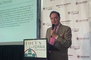 Well-known American Columnist Cal Thomas speaks at the Federal Government luncheon at the Walden Country Club in Atascocita on August 27,2019.