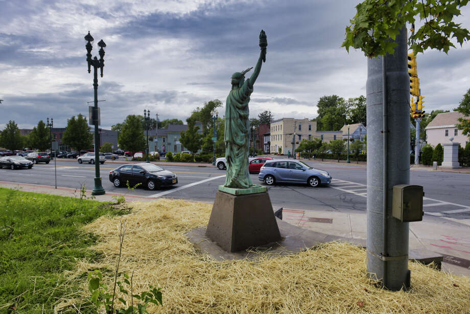 A view of a replica of the Statue of Liberty installed at the corner of Union Street and Erie Boulevard on Wednesday, Aug. 28, 2019, in Schenectady, N.Y.   (Paul Buckowski/Times Union) Photo: Paul Buckowski, Albany Times Union / (Paul Buckowski/Times Union)