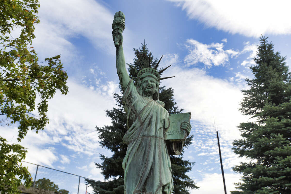 A view of a replica of the Statue of Liberty installed at the corner of Union Street and Erie Boulevard on Wednesday, Aug. 28, 2019, in Schenectady, N.Y. (Paul Buckowski/Times Union)