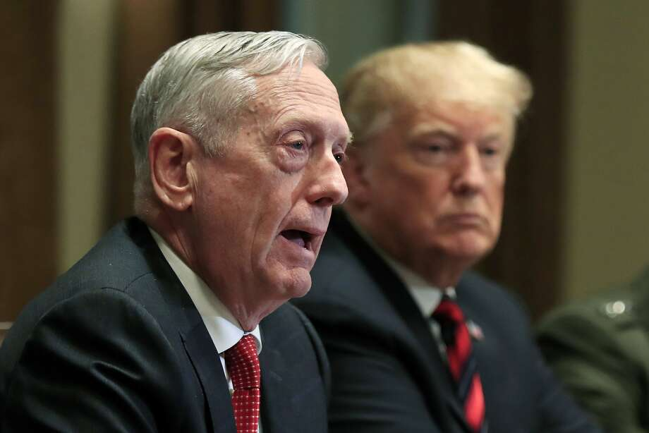 In this Oct. 23, 2018 file photo, Defense Secretary Jim Mattis speaks beside President Donald Trump, during a briefing with senior military leaders in the Cabinet Room at the White House in Washington.  Mattis excoriated Trump on Wednesday, June 3, 2020, accusing the nation's chief executive of deliberately trying to divide Americans, taking exception to his threats of military force on American streets, and praising those demanding justice following the police killing of George Floyd. Photo: Manuel Balce Ceneta, Associated Press