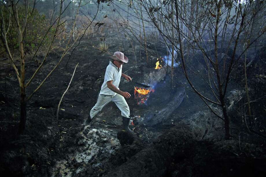 Brazilian farmer Helio Lombardo Do Santos is seen at a burnt area of the Amazon rainforest. Thousands of fires have flared up in the Amazon. Although some Amazonian fires are naturally occurring during the dry season, there have been far more this year than in previous years. Photo: Carl De Souza /Getty Images / AFP or licensors