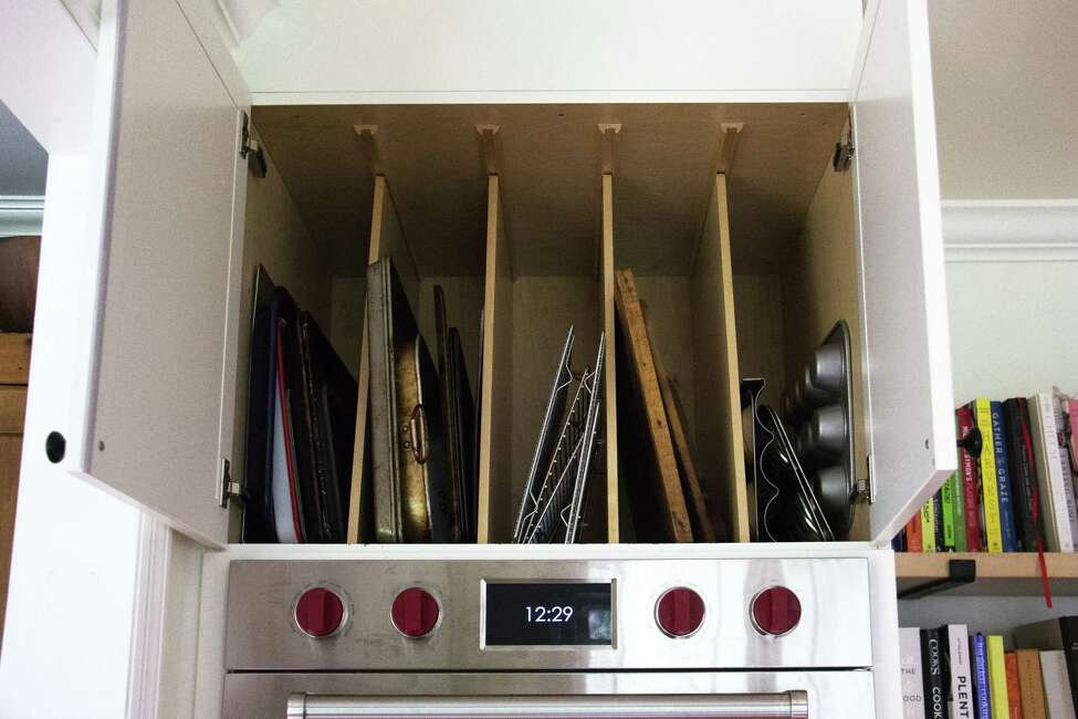 Pan storage above the oven in Ali Stafford's kitchen. (Photo by Ali Stafford)
