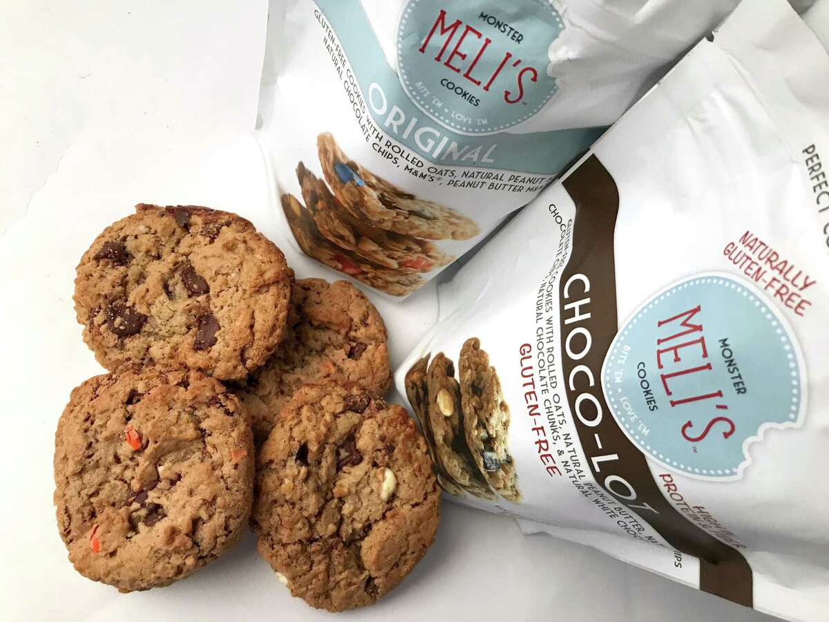 Original (package on the left, and the bottom left anf top right cookies) and Choco-Lot oatmeal cookies from the Austin-based Meli's Monster Cookies