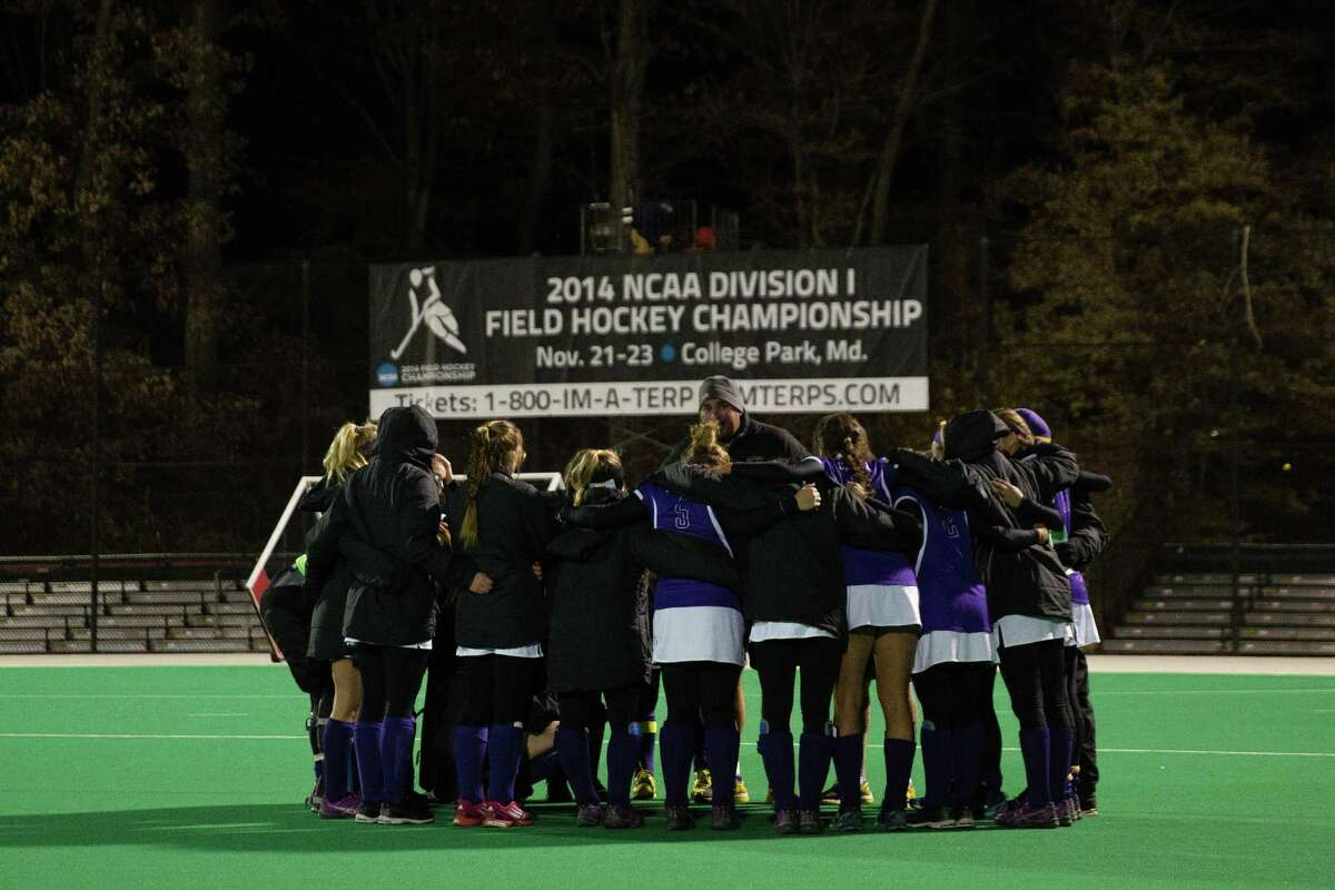The UAlbany field hockey team plays in its first Final Four on Nov. 21, 2014, losing to third-ranked Connecticut 1-0 in an NCAA semifinal in College Park, Md. (Brian Schneider / UAlbany Athletics)