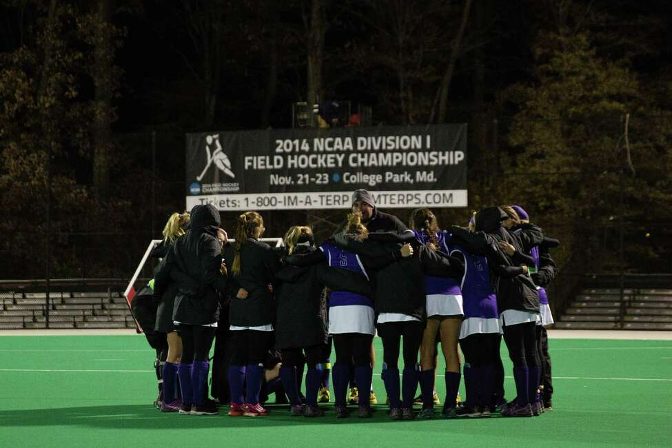 The UAlbany field hockey team plays in its first Final Four onNov. 21, 2014, losing to third-ranked Connecticut 1-0 in an NCAA semifinal in College Park, Md. (Brian Schneider / UAlbany Athletics)