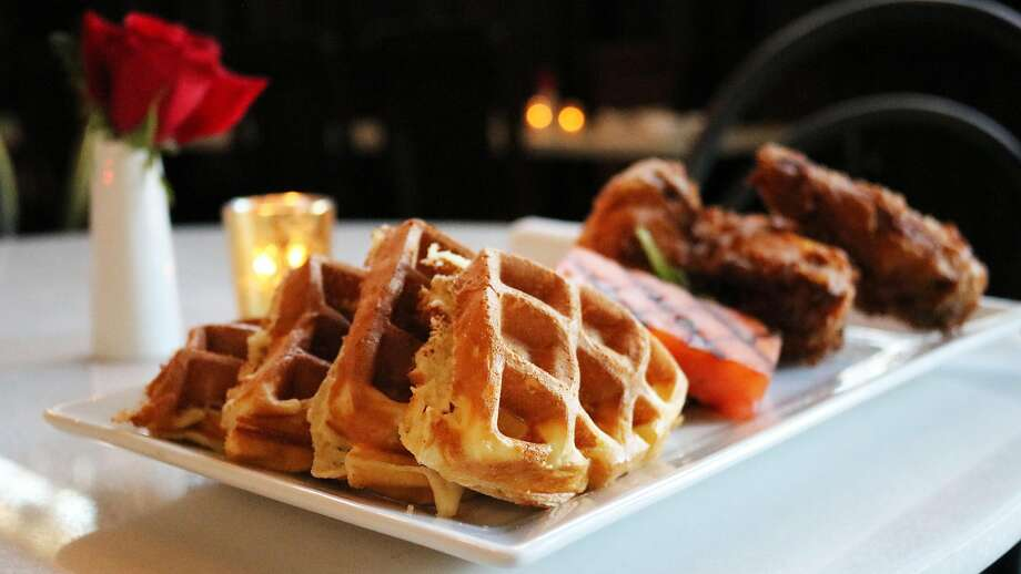 Bubbles and Birds offers chicken and waffles that diners can pair with a flight of champagne. Photo: Bubbles And Birds