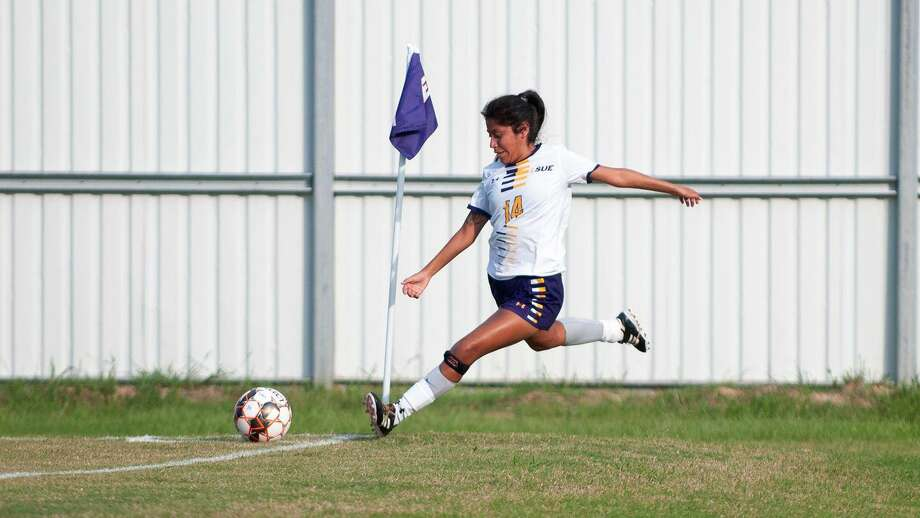 LSU Eunice soccer player Marcela Ramirez, a Conroe High School alumna, scored three goals in her second college game. Photo: LSU Eunice Sports Information