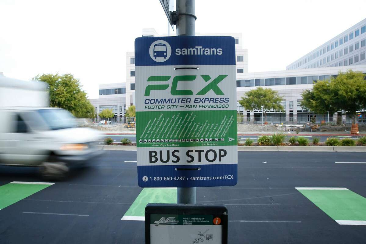 A sign for a SamTrans' Foster City Commuter Express bus is seen at a bus stop on E. Hillsdale Blvd. on Wednesday, August, 28, 2019 in Foster City, CA.