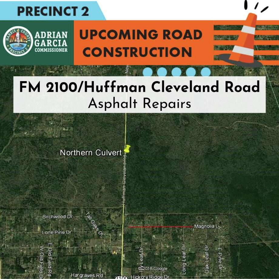 The picture that accompanied Harris County Precinct 2's Facebook post announcing the single lane closure for a portion of FM 2100 for roadwork on Aug. 31 and Sept 1 Photo: Harris County Precinct 2