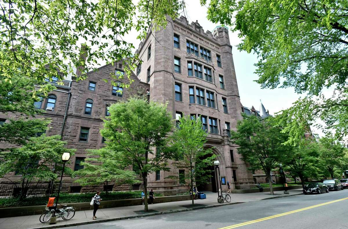 New Haven, Connecticut -Wednesday, July 24, 2019: Building permits taken out by Yale University and Yale New Haven Hospital: Phelps Gate, College Street.