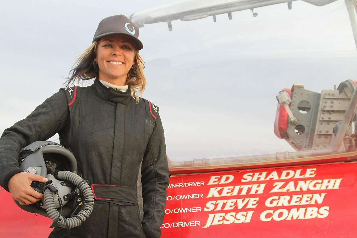 Jessi Combs is seen on Oct. 8, 2013, in the Alvord Desert, Ore., during her attempt on a new woman's land speed record.