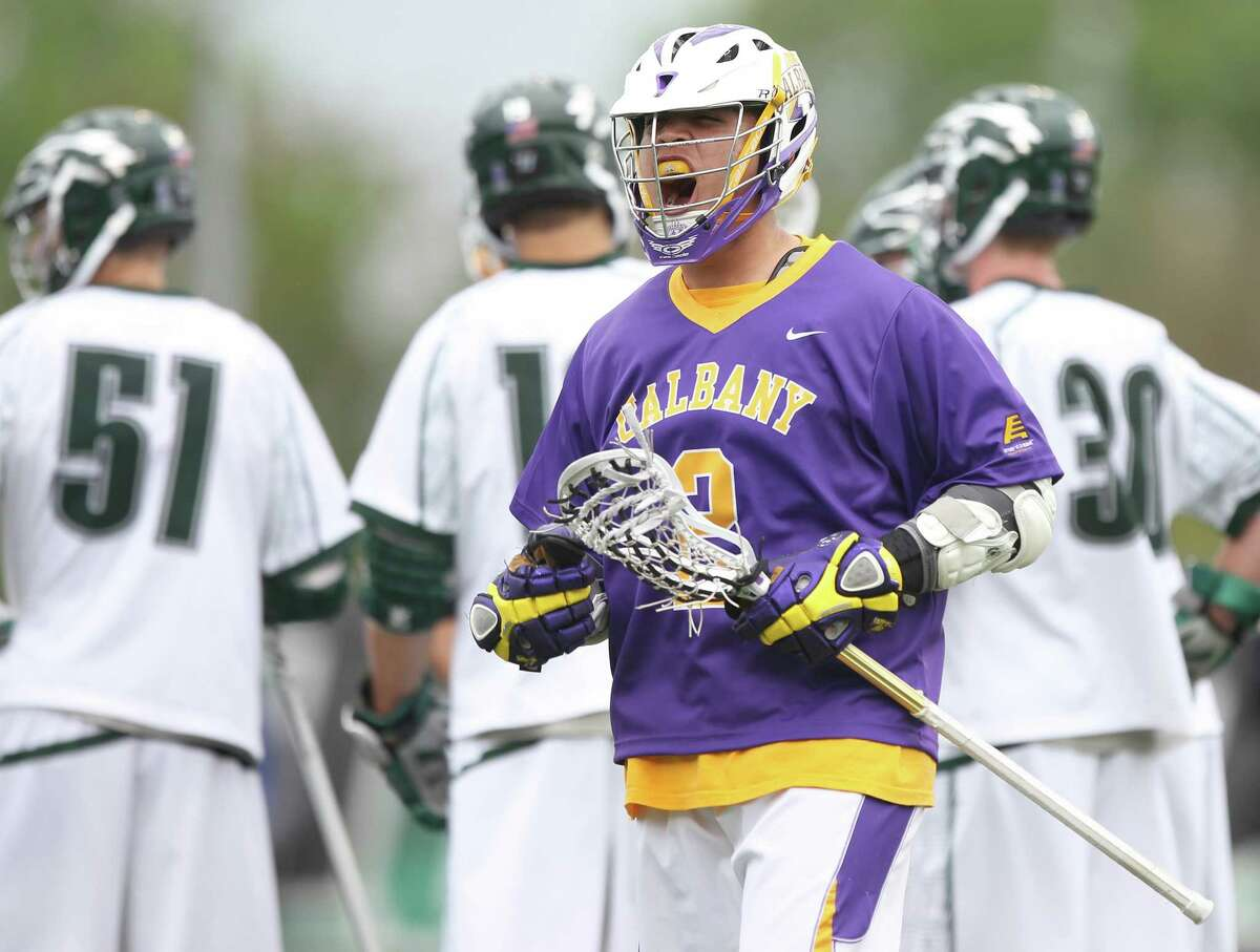 UAlbany attack Miles Tompson reacts after scoring a goal against Loyola in a first-round men's lacrosse NCAA Tournament game at Ridley Athletic Complex in Baltimore on Saturday, May 10, 2014. (Brian Schneider / UAlbany Athletics)