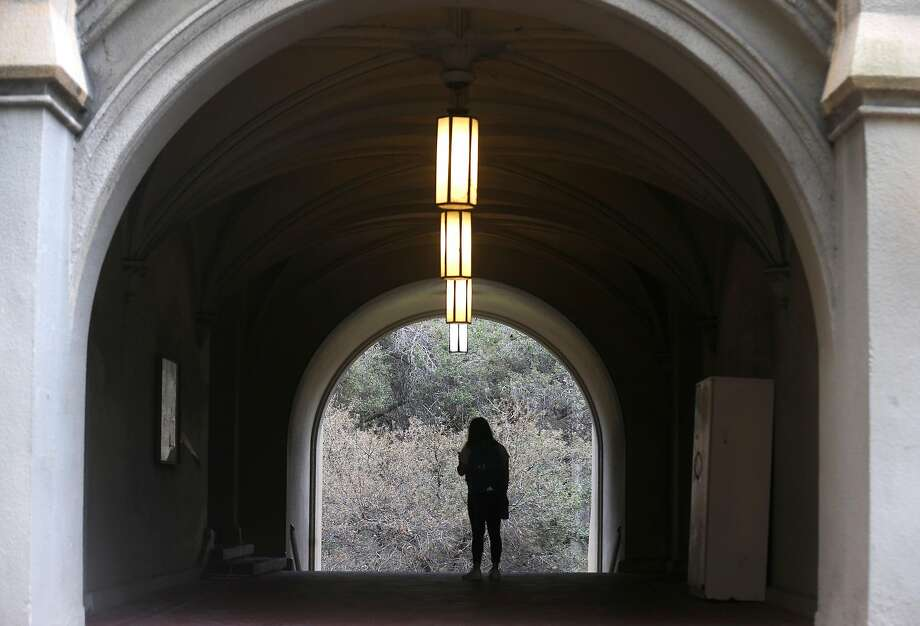 "A student walks through the portico of Stephens Hall at UC Berkeley, among six structures that have been rated ""very poor"" in a seismic analysis of buildings on the campus. Photo: Paul Chinn / The Chronicle"