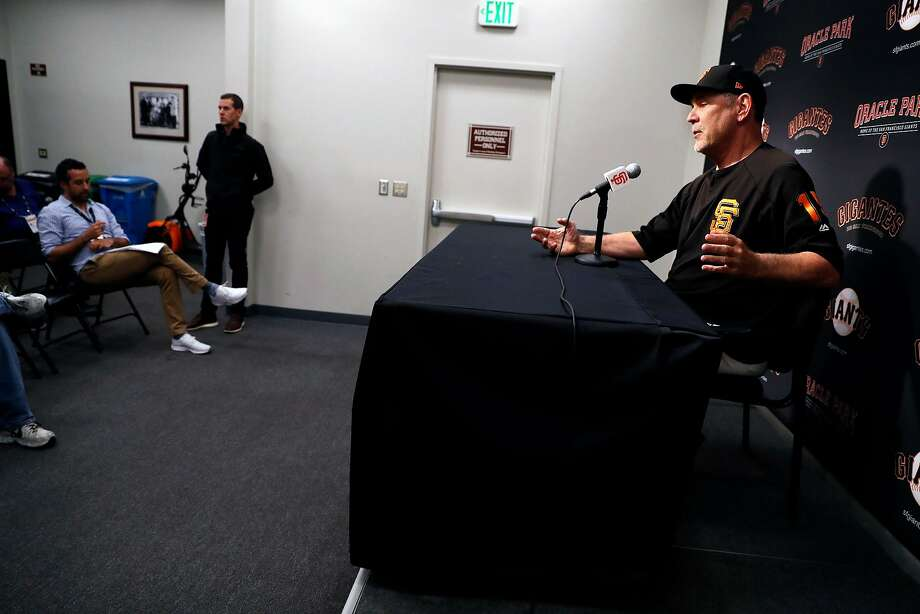 """Giants manager Bruce Bochy addresses media after Tuesday's loss. """"We have not played at home as well as we should,"""" Bochy says. """"It's really hard to make sense of it. It's baseball."""" Photo: Scott Strazzante / The Chronicle"""